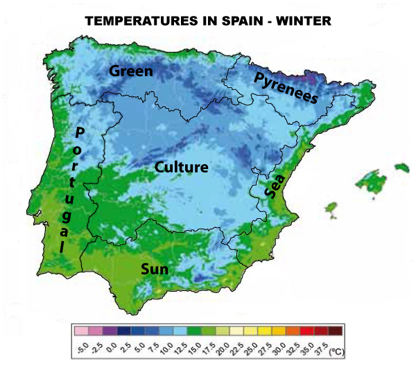 Temperatures in Spain Winter