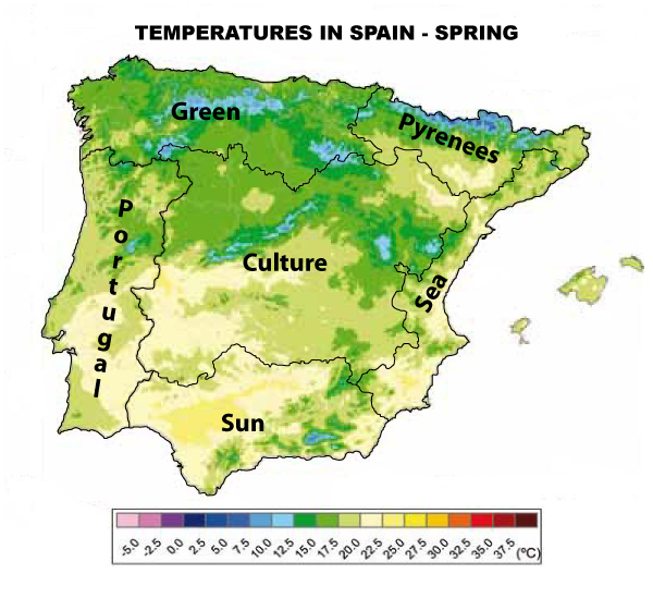 Temperatures in Spain Spring