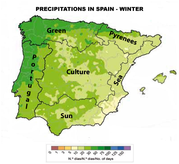 Precipitations Spain Winter