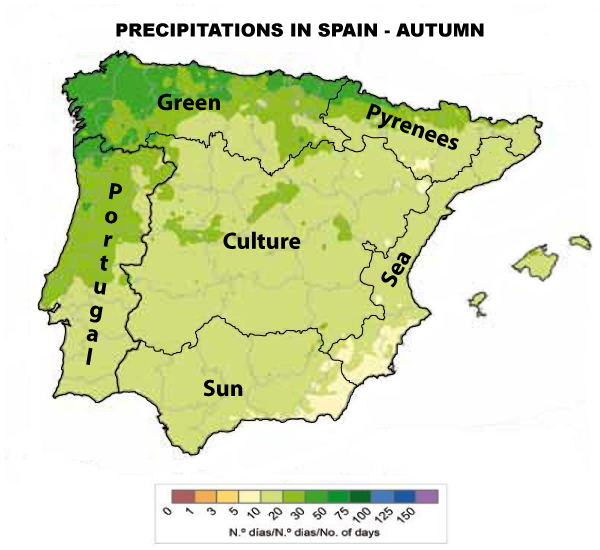 Precipitations Spain Autumn