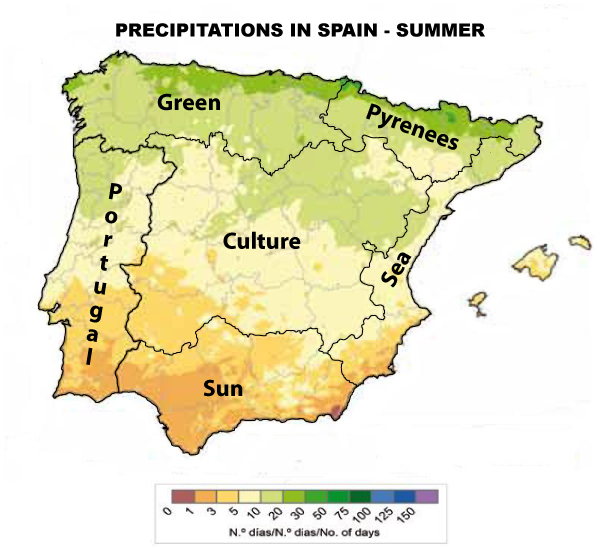 Precipitations Spain Summer