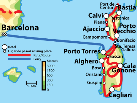 Mapa Corcega Y Cerdeña.Espana En Moto Alquiler De Motos Y Rutas Por Espana